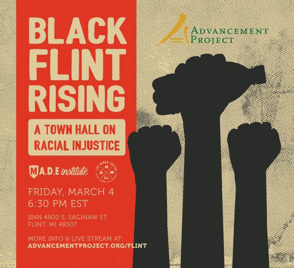 Une affiche de l'association Flint Rising pour lutter contre les injustices auxquelles les habitants de Flint font face.