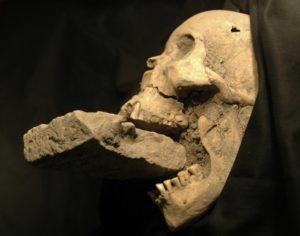 Crâne d'un présumé vampire avec une brique dans la bouche afin de l'empêcher de sucer le sang de ses victimes. Photo : France24