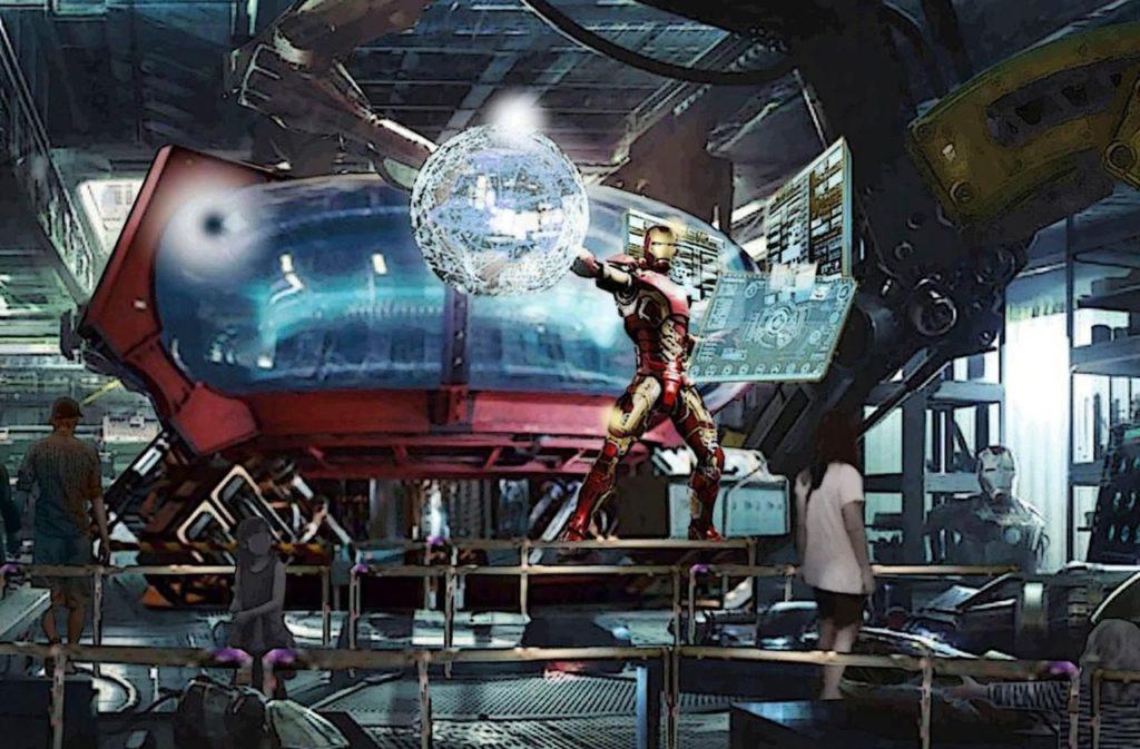 Concept art de la future attraction Iron Man, qui sera essentiellement une révision majeure du Rock 'n' Roller coaster actuel