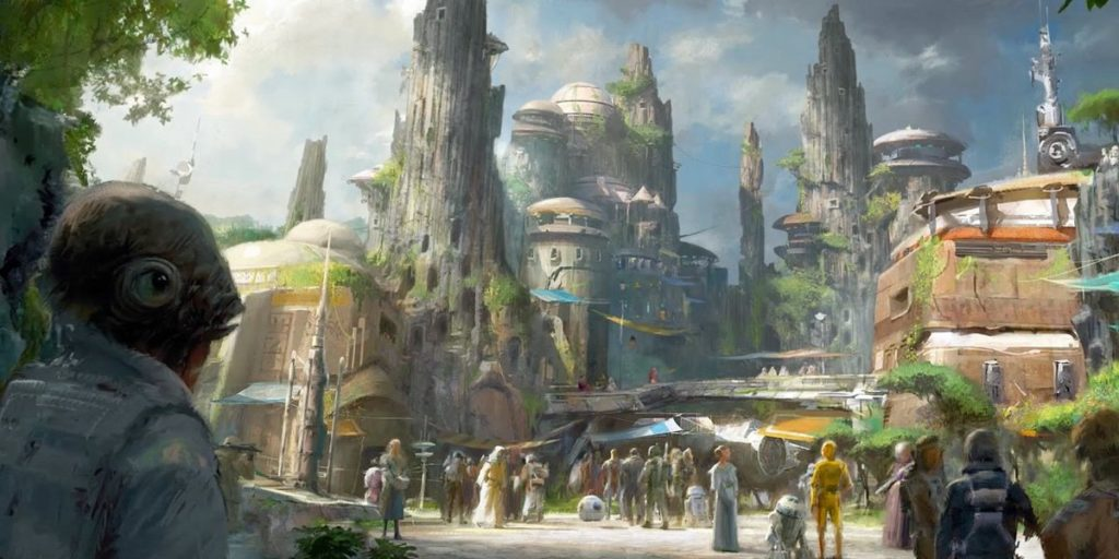 Visuel de la zone thématique Star Wars Galaxy's Edge pour le parc Disneyland California Adventure à Annaheim au Etats-Unis