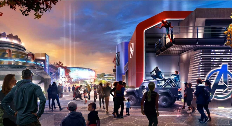 Visuel concept-art de la zone Marvel à Disneyland Paris